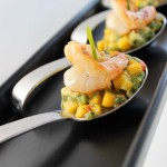 Honey Chipotle Shrimp with Mango Avocado Salsa in a Tasting Spoon