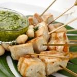 Grilled Swordfish Skewers with Macadamia Nut Pesto