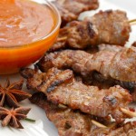 Spice Grilled Steak Skewers with Peach Bourbon Sauce