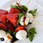 Strawberry Caprese Skewers with Fresh Mozzarella, Mint, & Balsamic Glaze