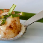 Scallop Benedict with Southern Grits and Hollandaise Sauce on a Tasting Spoon