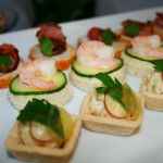 Tarragon Chicken Tartlets; Shrimp with Cucumber and Dill Butter